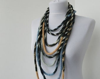 Knit Scarflette Necklace Loop scarf Infinity Scarf Neck Warmer Knit Scarflette in white,blue,beige and gray  E110