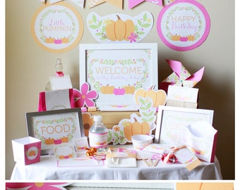 Little Pumpkin Birthday Decorations - Little Pumpkin 1st Birthday - Little Pumpkin Birthday Party - Girl Pumpkin Birthday - Pumpkin Patch