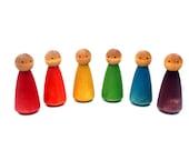 LARGE Wooden Peg Dolls, Rainbow of 6 Waldorf Montessori Dollhouse Dolls