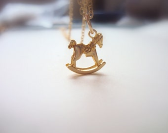 Rocking Horse Necklace, Golden Horse Pendant, Gift for Women, Little Horse, Gold Horse Charm, Rocking Chair Necklace, Rocking Toy Pendant