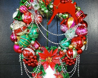 Vintage Ornament Wreath: Ding Dong Bell - Red and Green with Music Box!! - Holiday Wall Decor