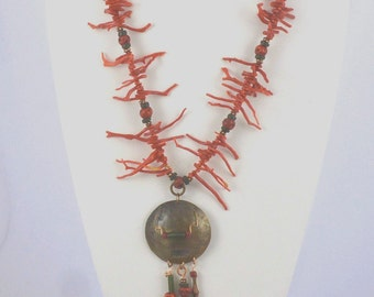 Statement Necklace - Red Coral - Mixed Media Tribal Necklace -Bronze Pendant