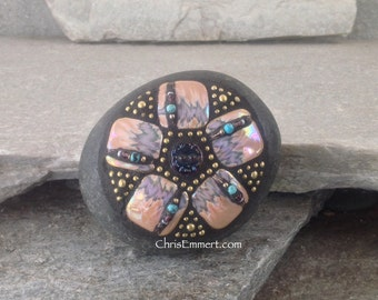 Purple and Rosy Pink 5 Petal Flower -Mosaic Paperweight / Garden Stone