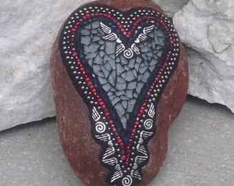 Angel Wing Mosaic Heart, Smoked Gray Heart, Mosaic Rock, Garden Stone, Home Decor, Gardener Gift, Garden Decor,