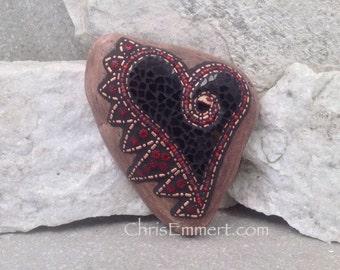 Black Angel Wing Mosaic Heart, Mosaic Rock, Garden Stone, Home Decor, Gardener Gift, Garden Decor,