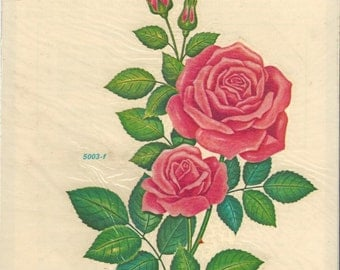 Rose Vintage Meyercord Decal, C1980s