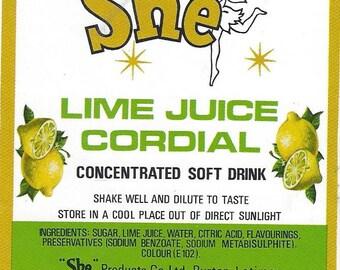 She Lime Juice Cordial Vintage Label, 1940s