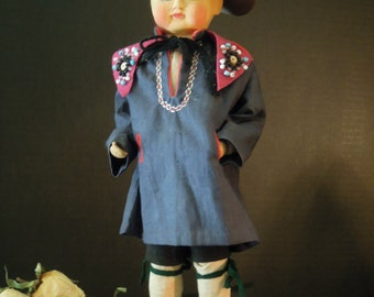 Vintage / Antique Hand CarvedWood and Painted Young Boy Doll / Dutch Wood Dolls / Victorian Dolls Netherland / Dutch Folk Art Dolls