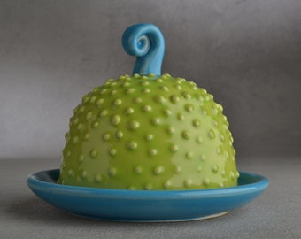 Dottie Butter Dish Ready To Ship Chartreuse and Blue Dottie Butter Dish by Symmetrical Pottery