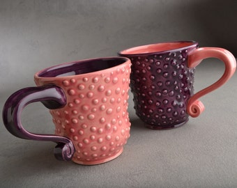 Dottie Mugs Ready To Ship Two Purple and Pink Dottie Coffee Mugs by Symmetrical Pottery