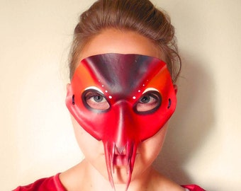 Lobster Leather Mask - Mardi Gras - Lobster Costume - Masquerade Mask - Crawfish Costume - Red - Costume - Animal Mask - Animal Costume