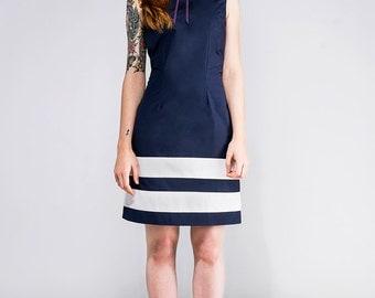 Navy blue mod Peter pan collar dress cotton bishop mod 1960s dress