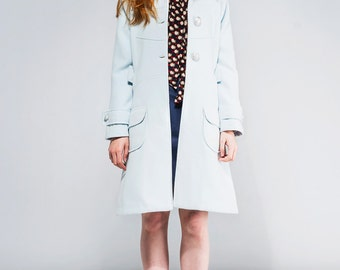 Mod Light blue soft wool coat 60s retro mod set custom made