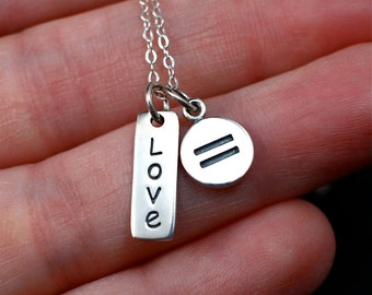Love Equality Necklace Sterling Silver | Equality Necklace | Love Necklace | Love is Love Jewelry | Love is Love Necklace