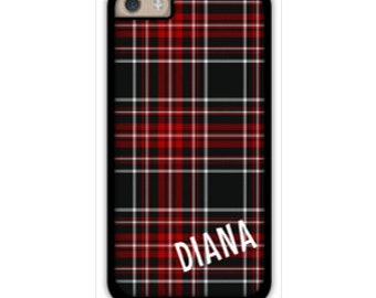 Monogram iPhone 6/6S * 6/6S PLUS * 5/5S * 5C personalized wrapping paper plaid phone case in custom colors with monogram or name