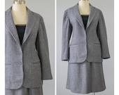70s Tweed Suit / 1970s Wool Skirt Suit / Blue Purple Grey Check Suit / Blazer Jacket and Skirt Two Piece Suit Set / Medium M