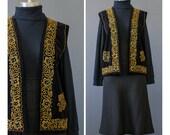 SALE - 70s Vest - Beaded Black Velvet Vest - Bohemian Vest - 1970s Vest - Ethnic Vest - Hostess Evening Vest - Beaded Vest - Boho Vest