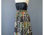 Vintage Patchwork Skirt - India Skirt - Boho Hippie Skirt - 90s Skirt - Black & White Floral Skirt - 1990s Skirt - Tier Skirt - Indian Skirt