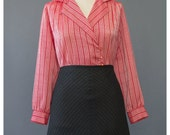 Vintage Striped Red Blouse - 70s Blouse - Organza Blouse - Secretary Blouse - Long Sleeve Collared Blouse - 1970s Blouse - Striped Blouse