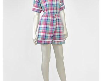 Vintage 80s Madras Plaid Romper Playsuit Cotton Pajama Set Two Piece 2 Eyelet Lace Trim Short Sleeve Blouse Shirt Shorts 1980s Pjs Sleepwear
