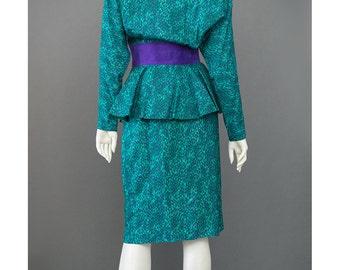 SALE Vintage 80s Silk Suit Teal Green Purple Abstract Print Suit 1980s Suede Trim Dolman Sleeve Peplum Jacket Blouse Pencil Skirt Suit S/M
