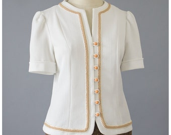 Vintage 60s Blouse - White Blouse w/ Brown Trim - Puff Sleeve Blouse - Jackie O Short Sleeve Day Blouse - Secretary Blouse - 1960s Blouse