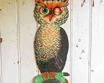 Vintage H.E. Luhrs Winking Owl - Large Die Cut Halloween Decoration - Vintage Halloween - 1940s or 1950s - Halloween Decor