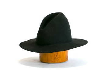 Vintage 70's Ten Gallon Hat , Such A Fine Hat , Black Felt Cowboy Hat /Witchy/Goth/Western Unisex Size XL