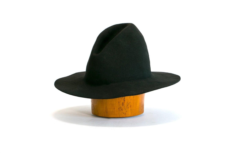 Vintage 70's Ten Gallon Hat Such A Fine Hat Black Felt 10 Gallon Cowboy Hat Front