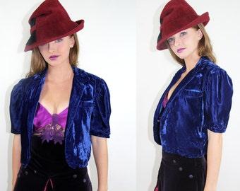 Velvet Bolero Jacket Vintage 90's Royal Blue BOLERO Coat //  TatiTati Style on Etsy