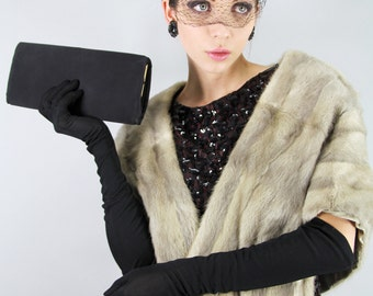 ENVELOPE CLUTCH Vintage 50s Black Silk Day or Evening Bag  // Old Hollywood // Vintage Clothing by TatiTati Style on Etsy