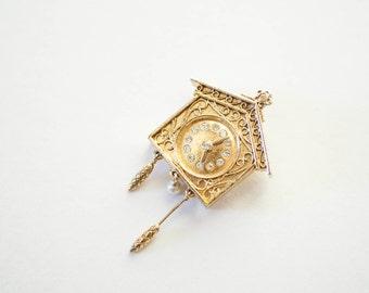 Vanda Perfume Pendant Cuckoo Clock Gold Tone 1970s Fashion Jewelry