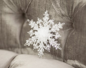 Crystal Snowflake Clip - Winter Wedding Snowflake Hair Piece, Sash Clip or Boutonniere Clip with Brooch Pin