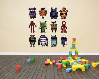 Colorful Robot decals- Fabric adhesive decals removable and reusable