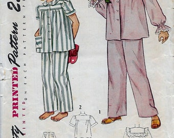 Simplicity 2599 Girls 40s Two Piece Pajamas Sewing Pattern Breast 28
