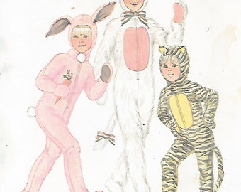 Simplicity 7683 Child's 70s Animal Costume Halloween Sewing Pattern Bunny Tiger Cat Size 6 Breast Chest 25