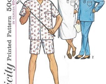 Simplicity 5039 Men's 60s Pajamas & Nightshirt Sewing Pattern Chest 38 to 40