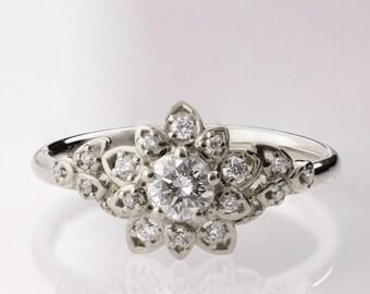 Diamond Art Deco Petal Engagement Ring No.2B - 14K White Gold and Diamond engagement ring, leaf ring, flower ring, vintage, halo ring