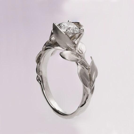 Leaves Engagement Ring No 7 Platinum Engagement Ring