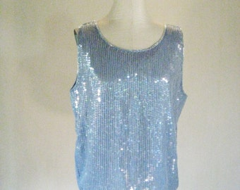 Iridescent Pastel Blue Sequin Slouchy Tank Top Glam