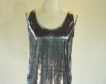 Liquid Metal Dotted Slouchy Tank Top Glam