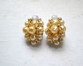 1960s Ivory Pearl and Chain Cluster Clip Earrings