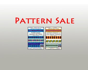 SALE / 2 Tubular Strip Piecing Quilt Patterns / Sawtooth Borders and Half Square Triangles, and Flying Geese and Squares on Point