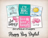 Happy & Fun Sayings 1 Graphics Digital Collage Sheet - 1 inch Squares for Tile Pendants - INSTANT DOWNLOAD