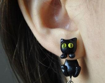 Black Cat Clinging Earrings - Kuroneko - Trigun