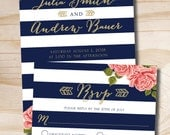Gold Glitter Floral Stripe Navy and Gold Wedding Invitation and Response Card - Printed Sample Set