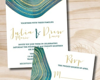 Modern Geode Wedding Invitation and Response Card // Agate Slice Invitation and RSVP Invitation Suite