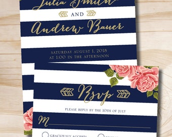 Gold Glitter Floral Stripe Navy and Gold Wedding Invitation and  Response Card Invitation Suite
