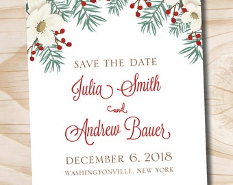 Christmas Pine Floral Winter Wedding Save the Date - Printable digital file or printed invitations