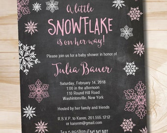 Little Snowflake Gold and Pink Girl Chalkboard Blackboard Baby Shower Invitation - Printable Digital file or Printed Invitations